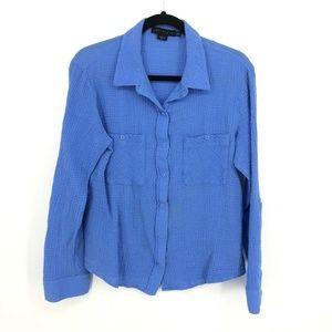 Sanctuary Gauze Cotton Button Up Boyfriend Shirt